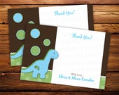 20 Dinosaur Thank you Notes -- Baby Shower thank you cards -- Birthday thank you notes - ANY COLOR