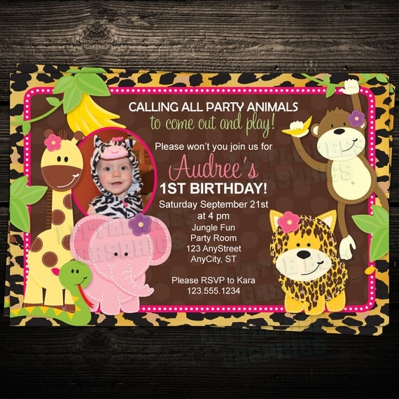 Wild Leopard Jungle Zoo Friends 1st Birthday Photo Invitation