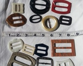 14 Vintage Belt Buckles, various  colors  and  sizes