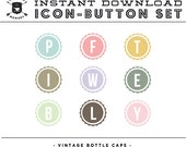 INSTANT DOWNLOAD - Set of 9 Vintage Bottle Cap Social Buttons/Icons -  for your Blog or Website