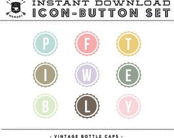 INSTANT DOWNLOAD - Set of 9 Vintage Bottle Cap Social Buttons/Icons - Social Media Buttons - Social Icon Set - Social Media Button Set