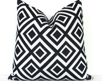 Black White Geometric Designer Pillow Cover Modern accent cushion hollywood regency imperial trellis david hicks style jet onyx bw bold