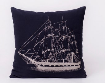 Ship pillow- Off White on Navy