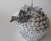 SALE Silver and White Wedding Sequin Cupcake Ornament