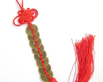 Vintage Coin Style Lucky Knot Tassel Hanging  T3051