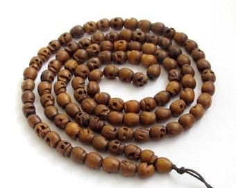 Tibetan Buddhist Jujube Wood Skull Head Meditation Yoga 108 Prayer Beads Mala Necklace  ZZ051