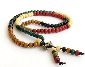6mm Tibet Buddhist Red White Yellow Green Black Colors Wood Meditation 108 Beads Prayer Mala  ZZ155