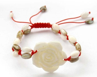 Adjustable Focal Natural Sea Shell Flower Bead Two Layered Woven Bracelet  T2552