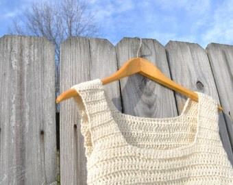Crochet Crop Sweater Vest in 100% Virgin Wool/ Recycled Yarn/ Rebirth Recycling Cream Boho Rustic Empire Waist Vest