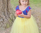 Snow White inspired crocheted tutu dress and headband