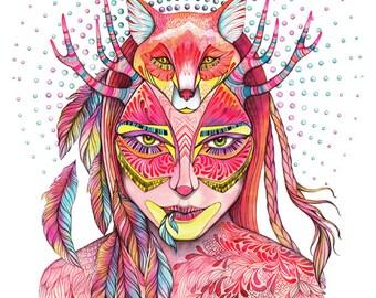 Spectrum, girl and fox art print, animal art, size 8x10 inch
