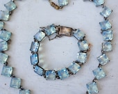 Art Deco open back aqua vaseline glass sterling necklace and bracelet