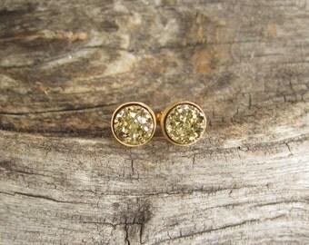 Tiny Gold Druzy Earrings Drusy Quartz Studs Vermeil Bezel Set