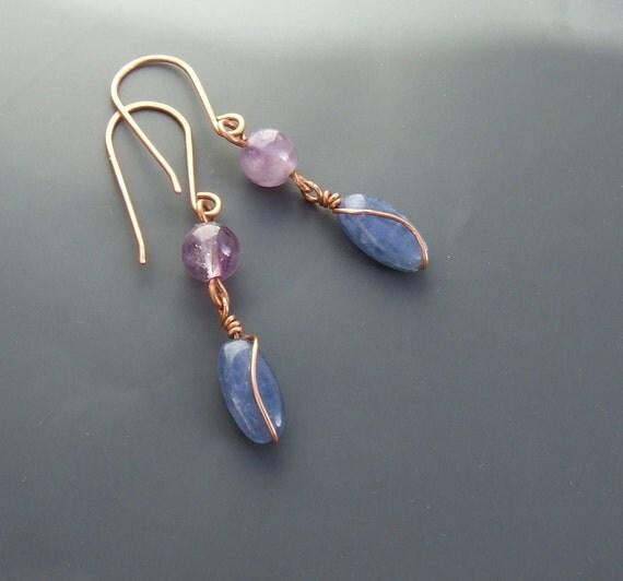 Kyanite amethyst earrings, dangle earrings, handmade purple and blue copper jewelry