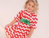 Girls Christmas dress, Christmas chevron dress, chevron Christmas dress, red Christmas dress