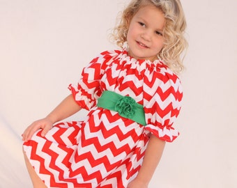 Girls Christmas dress, Christmas chevron dress, chevron Christmas dress, red Christmas dress