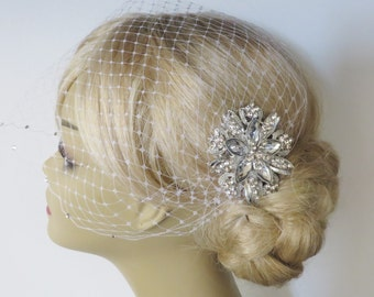 Birdcage Veil and a Bridal Hair Comb 2 Items Bridal Headpiece,Bridal Hair Comb,Blusher Bird Cage Veil,bridal jewelry,bridal hair accessories