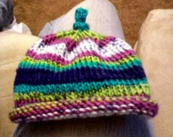 Made to Order- Newborn Roll Brim Knitted Hat w/Top Knot