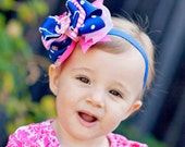 Nautical Bow, Baby Headband, 2 color options, Kinley Kate Limited Edition, OTT baby bow, Anchor Bow, Baby Headband, DCL Bow