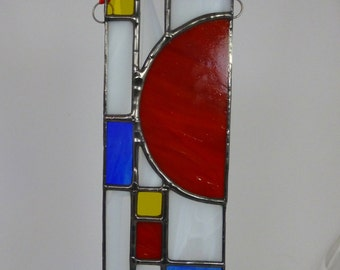 Prairie-style Red Sun Stained Glass Suncatcher
