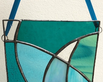 Stained Glass Turquoise and Aquamarine Ocean Colours Light Catcher