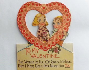 Vintage Valentine card die cut little girl and boy folding heart shaped cut out ephemera