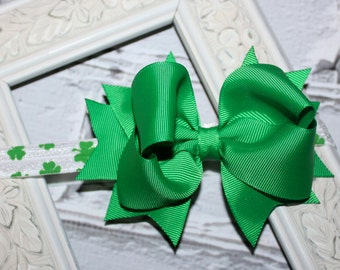 Boutique Baby Girls Shamrock Elastic Headband with Green Large Hair Bow Perfect for Photo Props St pattys Day St. Patricks Day