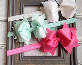 Boutique Baby Girls Set of 3 White Aqua Hot Pink Large Hair Bow on Elastic Headband..Perfect for Photo Props Spring Easter