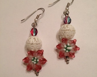 Poinsettia Snowball Beaded Earrings