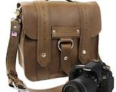 """10"""" Brown Napa Safari Leather Camera Bag"""