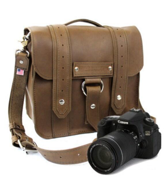"""10"""" Brown Napa Safari Leather Camera Bag - 10-V-BR-SMCAM"""
