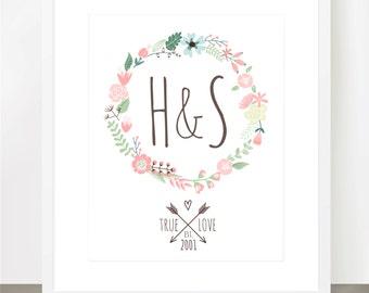 TRUE LOVE Floral Wreath Print, Date, Couples Initials, Wedding Gift, Bridal Shower, Anniversary, Love, 8x10, 11x14, 16x20, Custom, Birthday