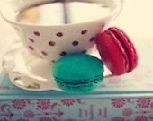 Tea, Macaron, Jane Austen, still life, red, turquoise, blue, polka dot, 8x8 print, Fine Art Photography, cookies, home decor