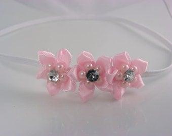 triple dainty pink satin flowered headband - newborn infant headband - photo prop