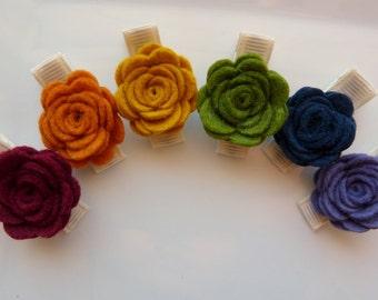 fall colors wool felt roses hair clips - set of six