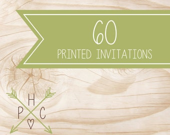 ADD ON >>> 60 5x7 Printed Premium Invitations with white envelopes