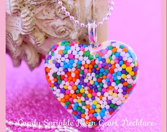 Candy Sprinkle Necklace , Sweetie Pie Real Sprinkles Resin Heart Necklace , Kawaii, Hipster, Handmade By: Tranquilityy
