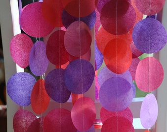 Tissue Paper Garland, Paper Garland, Party Garland, Birthday Garland, Wedding Garland, Photo Backdrop- Berries!