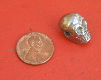 Day of the Dead Tin/Silver Skull Beads, 12 pieces