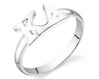 Sterling Silver Kappa Delta Letter Ring