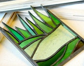 Mini stained glass panel: green grass