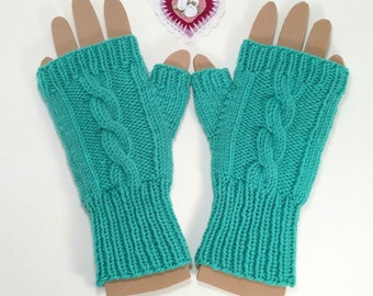 Fingerless Mittens for Women or Teens. Size medium. Mint green in a hand knit cable design.