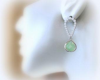 Apple Green Teardrop Earrings, Drop Earrings, Dangle Earrings, Post/Stud Earrings, Chandelier, Bridal Jewelry, Wedding, Mother's Day Gift