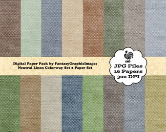 Linen Digital Paper Pack 16 Fiber Fabric Texture Papers Wedding Invitations Shabby Chic DIY Scrapbooking Cards Backgrounds Instant Download