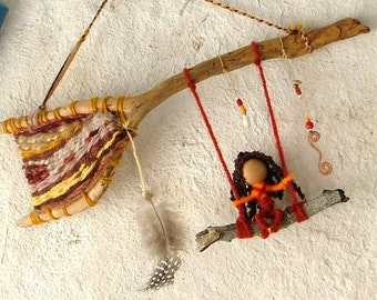 Dreamtime fairy - OOAK natural baby mobile hanging - twig weave earthy colors swinging girl eco friendly wall hanging