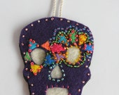 Deep Purple Sugar Skull Ornament