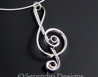 Argentium Silver Treble Clef Pendant, Larger Silver Music Necklace, Shiny Sterling Silver Treble Clef Necklace SN16