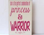 Princess Warrior Wood Sign, Children Wall Art, Girl Bedroom Decor, Nursery Sign, Princess Decor, Sustainable Home Decor,You Choose Colors