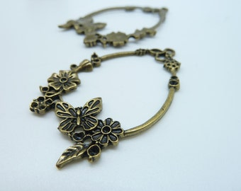 New 10pcs 36x56mm Antique Bronze Filigree Butterfly  Flower Connector Charm Pendant c1248