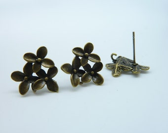 8pcs(4 pairs) 13x16mm Antique Bronze Brass Earring With Earposts (Two Holes Connector Link) C1827